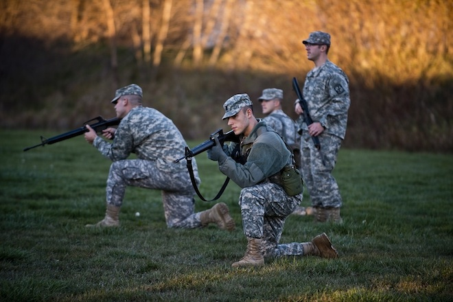 ROTC students conduct battle drills on campus