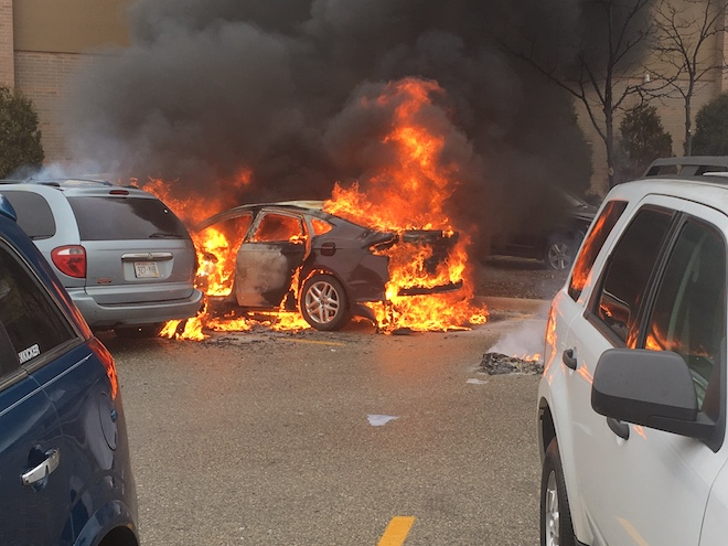 Fire engulfs two cars, spreads to third in Walmart parking lot