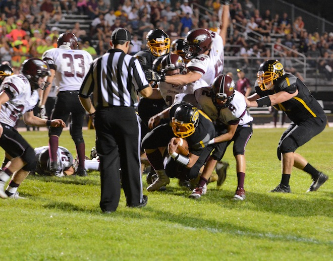 Eagles fly by Trojans