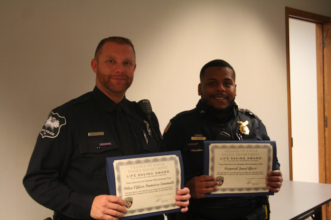 Eagle PD officers receive awards for saving a life