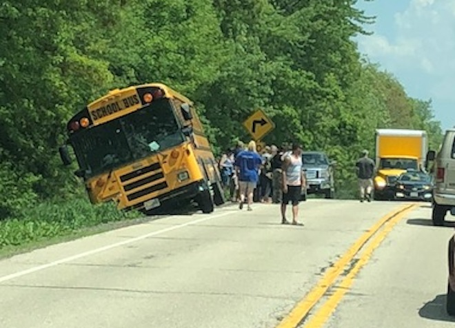 Bus in the ditch on Highway 20