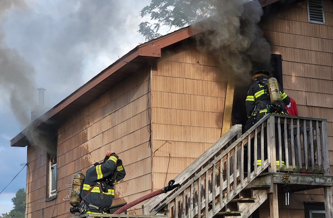 Fire displaces families